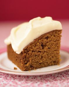 Cinnamon, ginger, nutmeg, allspice, and cloves give this pumpkin cake a warm, comforting holiday flavor. The easy honey-and-cream-cheese frosting adds a sweet and tangy flourish. This recipe works well in a square pan or a loaf pan.