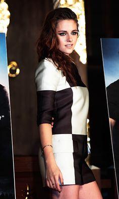 Kristen Stewart wearing black and white checkered SS 2013 Louis Vuitton jumpsuit in Japan