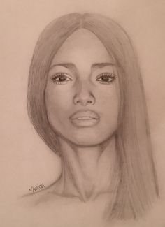 Pencil portrait graphite drawing sketch beautiful black woman