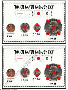 Touch Math Money Reference Strip from The Teacher Wears Prada on TeachersNotebook.com (2 pages)