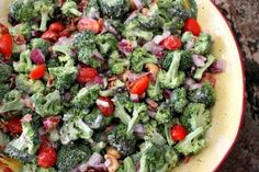 Broccoli Salad---love, love the sweet & the saltiness of this salad!  I could eat it everyday.