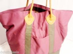 L.L BEAN Canvas & Leather Tote, Bag, Carry All, Carry On, in Burgundy & Green