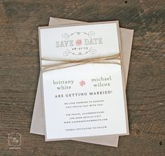Rustic Twine Wedding Save the Date Set of by TigerLilyInvitations #rusticwedding