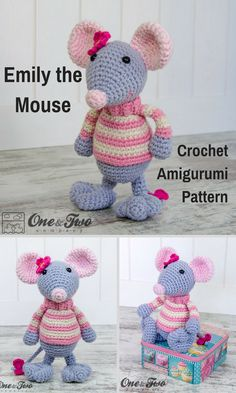 Emily the Mouse is a sweet crocheted amigurumi doll that loves to keep up to date with the fashion world. You can create your own Emily the Mouse with this downloadable pattern. #crochet #amigurumi #ad #mouse #crochetdoll #amigurumidoll #amigurumipattern #instantdownload