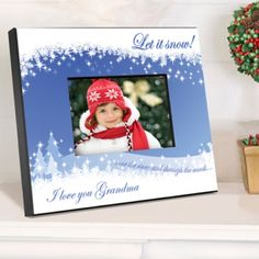 Let it Snow! adorns this custom holiday picture frame. Holiday trees and snowflakes set the scene in this vibrant picture frame. Personalize and give as a lovely gift. 8 x 10 size, holds a 4 x 6 picture. #snow #frame #heartdeeds
