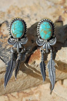 ☮ American Hippie Bohemian Boho Style ~ Jewelry .. Silver Turquoise Native Feather Earrings