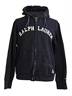 Ralph Lauren Polo Jeans Company Men's Hoodie Zip Up with the stitched in logo to the middle navy blue with front pockets lovely thick cotton fabric old school vintage 90's very trendy. (Classic Fitting Style) Chest 48 Inches - Top to Bottom - 26 Inches - Under Arm Length 22 Inches www.puckerclothinguk.com