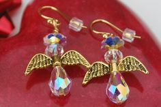 Angel Earrings14K Gold Filled Swarovski Crystal by ornatetreasures