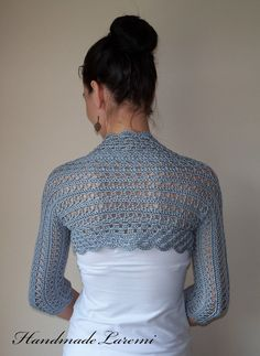 Gray Wedding Bolero Shrug cotton lace crochet by HandmadeLaremi