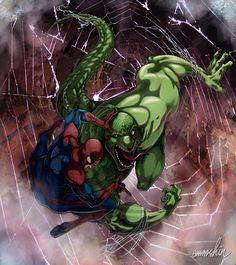 #Spiderman #Fan #Art. (Spider-man Vs. Lizard) By: Emmshin. (THE * 5 * STÅR * ÅWARD * OF: * AW YEAH, IT'S MAJOR ÅWESOMENESS!!!™)[THANK Ü 4 PINNING!!!<·><]<©>ÅÅÅ+