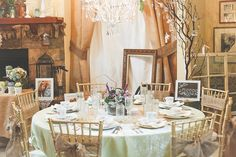 Crushed Willow Overlay, Heirloom China and Gold Chiavari Chairs! Vintage Elegance!