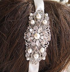 Wedding Head band, Pearl headband,  Ribbon hair band, crystal rhinestone, Ribbon Hairband, Bridal Hair Accessories, Wedding Accessory, $39.50