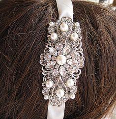 Wedding Head band, Pearl headband,  Ribbon hair band, crystal rhinestone, Ribbon Hairband, Bridal Hair Accessories, Wedding Accessory, $39.50