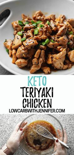 Keto Teriyaki Chicken - Keto Recipes - Another easy low carb dinner that can be made in under 30 minutes! This keto teriyaki chicken is full of flavor, will cure that keto Chinese food craving, and perfect served with cauliflower fried rice. Ketogenic Recipes, Diet Recipes, Chicken Recipes, Healthy Recipes, Ketogenic Diet, Dukan Diet, Slimfast Recipes, Lunch Recipes, Chicken Appetizers