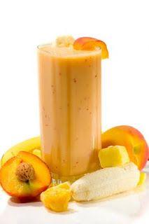 Mango, peach, banana smoothie