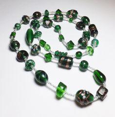 Dark Green Lampworked Glass Beadwork Necklace