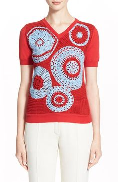 Nina Ricci Hand Crocheted Cotton Sweater available at #Nordstrom