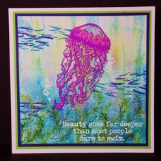 Vivid Beauty - visible image stamps - jellyfish stamp - dare to swim - pauline butcher