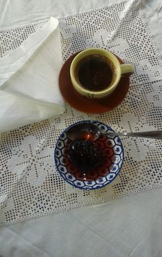 A traditional Greek treat served with Greek coffee. These vegan and healthy treats are made all over Greece with all sort of fruit. Greek Dishes, Healthy Treats, Spoon, Plum, Greece, Recipies, Traditional, Vegan, Fruit