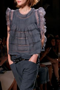 Isabel Marant SS2014 - the PERFECT mix of masculine & feminine. Slouchy, elegant, unexpected, inky lavender grey - BANANAS!