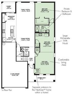 The st lucia one of two floorplans available from the for Multi generational homes floor plans