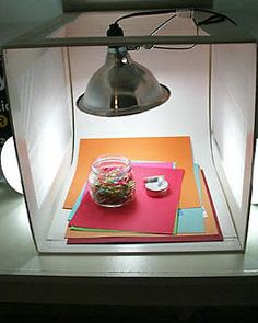 a DIY light box- I already have that lamp from when we had the baby chickens in the kitchen!