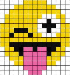 Pixel Wink Emoji Perler Bead Pattern / Bead Sprite