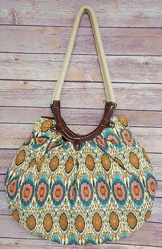 3ef75b921c16 Jaclyn Smith Large Hippie Boho Bag Bright Geometric Ikat Circle Print Purse   jaclynsmith  ShoulderBag