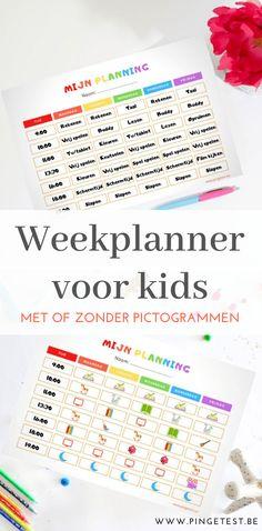 Weekplanner voor kinderen downloaden zelf maken week planning kids met pictogrammen en tekst zelf samenstellen Week Planner, School Hacks, School Tips, Baby Sensory, Printable Planner, Printables, Back To School, Parenting, Bullet Journal