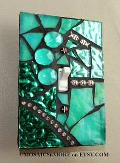 Turquoise Treasure - OVERSIZED Single Mosaic Light Switch Cover Wall Plate via Etsy