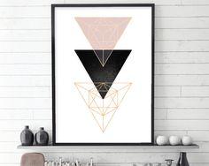 Scandinavian Modern, Scandinavian Print, Scandinavian Art, Scandi Art, Geometric Art, Geometric Print, Minimalist Art, Blush,…