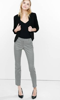 Tile Jacquard Editor Ankle Pant from EXPRESS