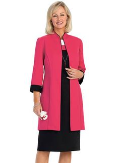Color Block Jacket Dress with FREE Necklace from www.amerimark.com.