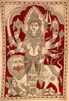 Durga - Indian Kalamkari Painting on Cotton Artist - K Murali Kalamkari Painting, Madhubani Painting, Hindus, Jaisalmer, Udaipur, Navratri Images, Durga Maa, Durga Goddess, Madhubani Art