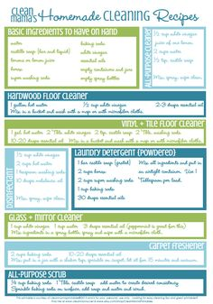Pop this FREE printable on the fridge or bulletin board for easy access. DIY Homemade Cleaning Recipes via Clean Mama
