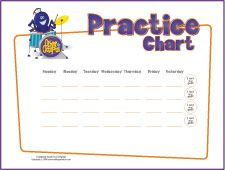 """Practice charts that teach """"meeting a goal"""". It could be useful for parents or private lessons. (good for grades 1-6)"""