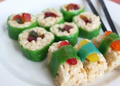 """sushi"" - rice krispie treats, fruit roll-ups and Swedish fish! for big hero six Rice Krispie Treats, Rice Krispies, Sushi For Kids, Kid Sushi, Godzilla Birthday Party, Godzilla Party, Godzilla Godzilla, Sweet Sushi, Dessert Sushi"