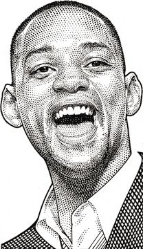 Wall Street Journal portrait (hedcut) of Will Smith Celebrity Caricatures, Celebrity Drawings, Cartoon Sketches, Art Sketches, Pencil Portrait, Portrait Art, Stippling Art, Black Artwork, Photoshop