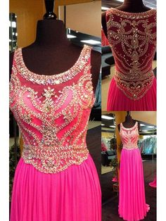 MAGENTA A LINE CHIFFON LONG PROM DRESS WITH GOLDEN BEADING