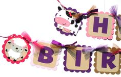 Items similar to Girly Farm Animal Party Theme Happy Birthday Banner in Hot Pink and Purple with Purple Letters on Etsy Animal Themed Birthday Party, Farm Animal Party, Birthday Party Themes, Farm Party Decorations, Table Labels, Name Banners, Happy Birthday Banners, Party Items, For Your Party