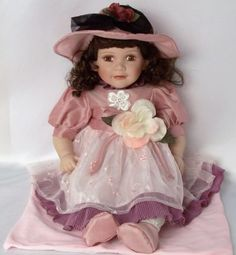 "24"" ""Charlotte"" Porcelain Doll Brown Hair Eyes Pink Hat Limited Edition New Box 