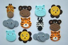 Fondant Cupcake or Cookie Toppers Safari Animal Mix Jungle Zoo Etsy Cookie Covers Fondant Cupcakes, Fondant Toppers, Cupcake Cookies, Fondant Cat, Party Cupcakes, Themed Cupcakes, Torta Angel, Jungle Cake, Jungle Theme