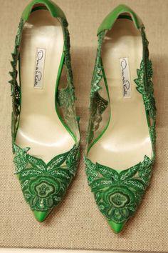 Lace green heels. http://habituallychic.luxury/2014/09/pretty-on-pinterest/#slide7  oscar-de-la-renta-spring-2015