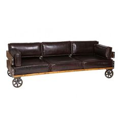 Retro Brown Leather Industrial sofa with vintage brown leather on caster wheels. Wheel couch design high quality Italian leather material with distressed effect