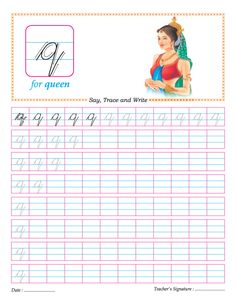 54 best cursive images on pinterest cursive letters cursive cursive small letter q practice worksheet expocarfo Choice Image