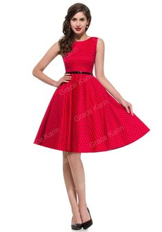 Waistline: Natural Fabric Type: Denim Dresses Length: Knee-Length Neckline: O-Neck Sleeve Length: Sleeveless Decoration: Sashes Pattern Type: Dot Sleeve Style: Tank Material: Cotton How to measure