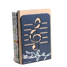 1pair Black Musical Note Nonskid Bookend Gift 7.8 inch New #Unbranded