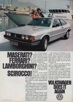 Vintage Automobile Advertising: 1980 Volkswagen Scirocco, From Car and Driver Magazine, July 1980.