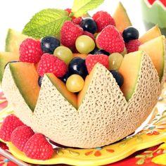 A Decorative cantaloupe fruit salad recipe.�. Cantaloupe Fruit Salad  Recipe from Grandmothers Kitchen.