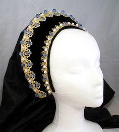 Renaissance French Hood, Tudor Headpiece, Anne Boleyn, Renaissance Headpiece, Headpiece, Renaissance Headdress, Hat, Reproduction Lady Maria
